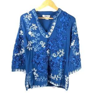 Once Again Women's V Neck Embroidered Tunic 1250